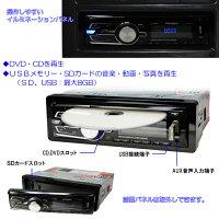 1DIN車載DVDプレーヤーUSBSDラジオAMFM外部映像音声入出力アンプ内蔵[6989]