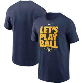 ナイキ NIKE 紺色 ネイビー ミルウォーキー ブルワーズ Tシャツ LET'S 【 NIKE NAVY PLAY BALL TSHIRT BRW 】 メンズファッション トップス Tシャツ カットソー