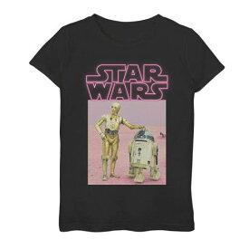 STAR WARS ピンク Tシャツ 黒色 ブラック スターウォーズ 【 PINK R2D2 C3PO NEON TITLE PORTRAIT TEE BLACK 】 キッズ ベビー マタニティ トップス Tシャツ
