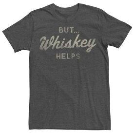 キャラクター Tシャツ チャコール ヘザー メンズ 【 HEATHER LICENSED CHARACTER WHISKEY HELPS ALCOHOL HUMOR TEE CHARCOAL 】