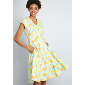 NO_BRAND_SHOWN ドレス 青色 ブルー NO_BRAND_SHOWN ミディドレス 【 QUIRKY PERSONALITY COTTON BLUE 】 レディースファッション ドレス