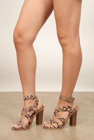 TOBI アラウンド レザー 【 Come Around Faux Leather Heels 】 Taupe Multi