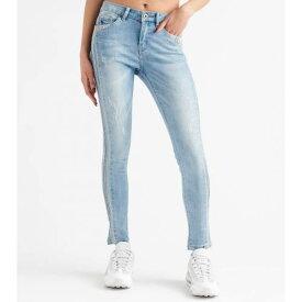 FUNKY SOUL 青 ブルー 【 BLUE FUNKY SOUL MIDRISE RHINESTONE JEANS LIGHT 】 レディースファッション オーダーメイド ズボン パンツ