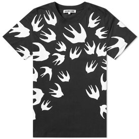 MCQ ALEXANDER MCQUEEN Tシャツ メンズファッション トップス カットソー メンズ 【 Large Swallow Print Tee 】 Black & White