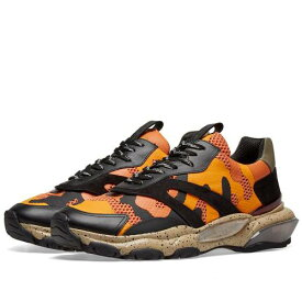 VALENTINO スニーカー メンズ 【 Camo Overlayed Bounce Sneaker 】 Orange, Black & Desert Sand