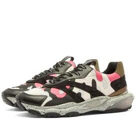 VALENTINO スニーカー メンズ 【 Camo Overlayed Bounce Sneaker 】 Pink, Black & Desert Sand