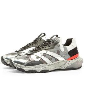 VALENTINO スニーカー メンズ 【 Metallic Camo Overlayed Bounce Sneaker 】 Silver & Pastel Grey