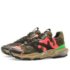 VALENTINO ピンク スニーカー 【 PINK VALENTINO NEON CAMO OVERLAYED BOUNCE SNEAKER 】 メンズ スニーカー