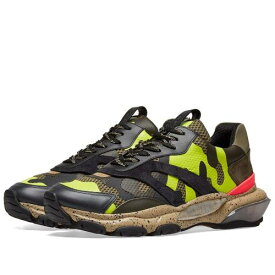 VALENTINO スニーカー メンズ 【 Neon Camo Overlayed Bounce Sneaker 】 Yellow