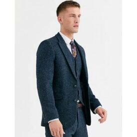 スリム スーツ ジャケット 青 ブルー スーツジャケット 100% メンズファッション コート 【 SLIM BLUE ASOS DESIGN IN WOOL HARRIS TWEED HERRINGBONE 】