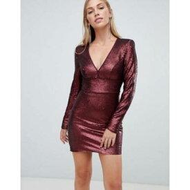 ドレス ワイン色 バーガンディー レディースファッション ワンピース 【 FOREVER NEW SEQUIN MINI DRESS IN BURGUNDY 】