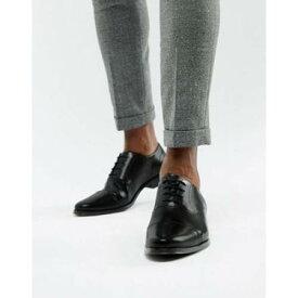 オックスフォード スニーカー 運動靴 黒色 ブラック レザー キャップ 帽子 メンズ ビジネススニーカー 【 ASOS DESIGN OXFORD SHOES IN BLACK LEATHER WITH TOE CAP 】