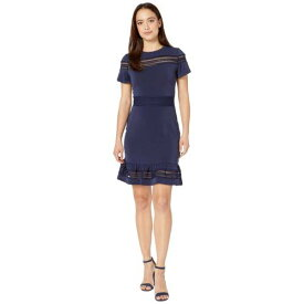 MICHAEL MICHAEL KORS スリーブ ドレス 紺 ネイビー 【 SLEEVE NAVY MICHAEL KORS PETITE MESH MIX SHORT DRESS TRUE 】 レディースファッション ドレス