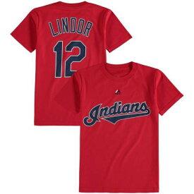 マジェスティック MAJESTIC クリーブランド インディアンズ 子供用 Tシャツ キッズ ベビー マタニティ トップス ジュニア 【 Francisco Lindor Cleveland Indians Youth Player Name And Number T-shirt 】 Red