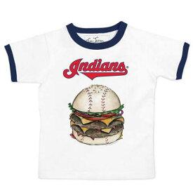 TINY TURNIP クリーブランド インディアンズ 子供用 Tシャツ キッズ ベビー マタニティ トップス ジュニア 【 Cleveland Indians Youth Ringer Burger T-shirt - White/navy 】 White/navy