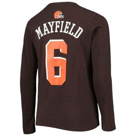 OUTERSTUFF クリーブランド ブラウンズ 子供用 Tシャツ 茶 ブラウン キッズ ベビー マタニティ トップス ジュニア 【 Baker Mayfield Cleveland Browns Youth Mainliner Player Name And Number T-shirt - Brown 】 Brown