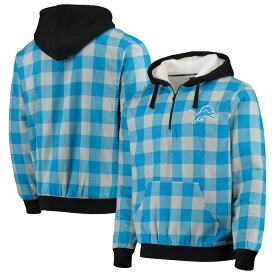 FOREVER COLLECTIBLES デトロイト ライオンズ 【 DETROIT LIONS LARGE CHECK SHERPA FLANNEL QUARTERZIP HOODIE JACKET BLUE SILVER 】 メンズファッション トップス パーカー 送料無料