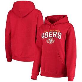 ニューエラ NEW ERA フォーティーナイナーズ レディース フリース レディースファッション トップス パーカー 【 San Francisco 49ers Womens Brushed Fleece Pullover Hoodie - Scarlet 】 Scarlet