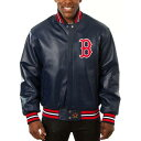 JH DESIGN ボストン 赤 レッド チーム レザー 【 RED TEAM BOSTON SOX COLOR LEATHER JACKET NAVY 】 メンズファッシ…