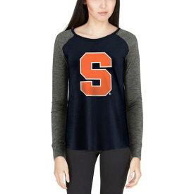 BOXERCRAFT シラキュース 橙 オレンジ レディース スリーブ Tシャツ レディースファッション トップス カットソー 【 Syracuse Orange Womens Preppy Elbow Patch Slub Long Sleeve T-shirt - Navy/gray 】 Navy/gray