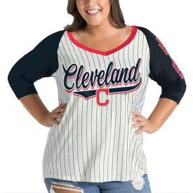 ニューエラ NEW ERA クリーブランド インディアンズ レディース スリーブ ラグラン ブイネック Tシャツ レディースファッション トップス カットソー 【 Cleveland Indians Womens Plus Size Three-qua