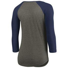 アンダーアーマー UNDER ARMOUR クリーブランド インディアンス レディース パフォーマンス ラグラン Tシャツ 灰色 グレー グレイ 紺色 ネイビー WOMEN'S 【 GRAY UNDER ARMOUR PERFORMANCE TRIBLEND RAGLAN