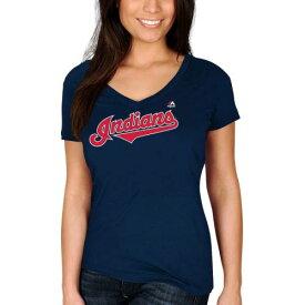 マジェスティック MAJESTIC クリーブランド インディアンズ レディース ブイネック Tシャツ 紺 ネイビー レディースファッション トップス カットソー 【 Jose Ramirez Cleveland Indians Womens Name