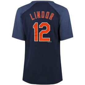 マジェスティック MAJESTIC クリーブランド インディアンズ レディース ラグラン Tシャツ 紺 ネイビー レディースファッション トップス カットソー 【 Francisco Lindor Cleveland Indians Womens Plus