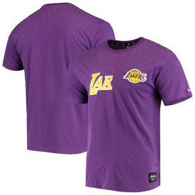 ニューエラ NEW ERA レイカーズ ロゴ Tシャツ 紫 パープル メンズファッション トップス カットソー メンズ 【 Los Angeles Lakers Wordmark Logo Cut And Sew Applique Brushed T-shirt - Purple 】 Purple