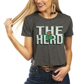 GAMEDAY COUTURE レディース チーム Tシャツ チャコール WOMEN'S 【 TEAM GAMEDAY COUTURE MARSHALL THUNDERING HERD HOME ADVANTAGE CROPPED TSHIRT CHARCOAL 】 レディースファッション トップス Tシャツ カットソー