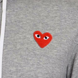 コムデギャルソンプレイ COMME DES GARCONS PLAY フーディー パーカー 灰色 グレー 赤 レッド ジップフーディー 【 RED COMME DES GARCONS PLAY HEART GREY 】 メンズファッション トップス スウェット ト