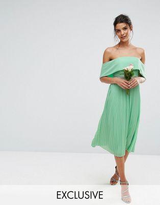ドレス ワンピース スカート tfnc wedding bardot midi dress with pleated skirt and embellished waist