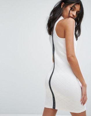 adidas アディダス originals オリジナルス high ハイ neck quilted dress ドレス ワンピース in white 白 ホワイト