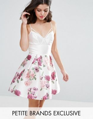 ワンピース 小さいサイズ ドレス chi petite corset top cami mini dress in floral print