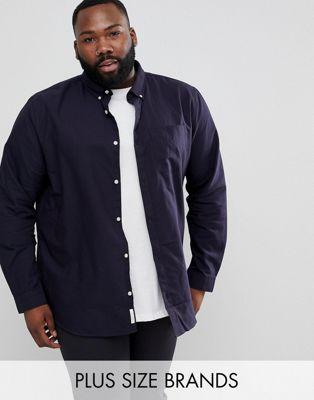 river island plus regular fit oxford shirt in navy リバー ネイビー 紺 イン オックスフォード アイランド フィット シャツ プラス レギュラー メンズファッション トップス カジュアルシャツ