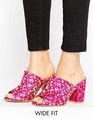 エイソス ASOS ハンガー ワイド フィット ミュール レディース 女性用 レディース靴 靴 【 HANGER WIDE FIT MULES EMBROIDERY 】