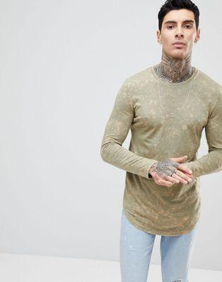 アッシュ エイソス ash asos スーパー tシャツ ロングライン ロング ウォッシュ アシッド イン スリーブ super longline long sleeve in subtle acid wash メンズファッション カットソー トップス