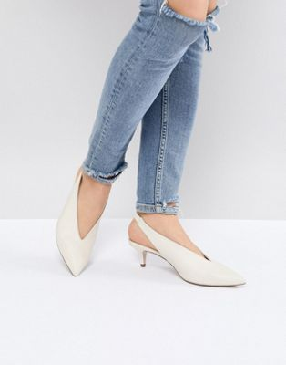 office miranda white sling back kitten heeled shoes 運動靴 バック オフィス ホワイト シューズ 白 ミランダ スリング パンプス レディース靴 靴