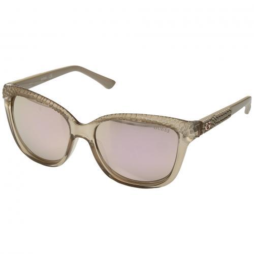 ゲス シャイニー ミラー レディース 女性用 サングラス 眼鏡 バッグ ブランド雑貨 小物 【 GUESS GU7401 SHINY BEIGE BROWN MIRROR 】