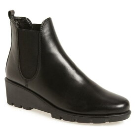 チェルシー ウェッジ ブーツ 黒 ブラック カシミヤ レザー シューズ レディース靴 靴 【 BLACK THE FLEXX SLIMMER CHELSEA WEDGE BOOT CASHMERE LEATHER 】