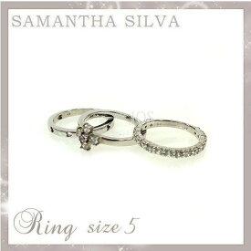 サマンサタバサ アクセサリー Samantha Silva サマンサシルバ SV CZ(Wh/Pk) クロスダイヤ リングセット 5号 アクセサリー プレゼント ギフト 指輪 リング