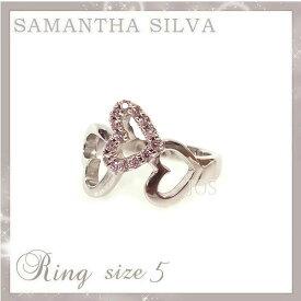 098191027675e8 サマンサタバサ アクセサリー Samantha Silva サマンサシルバ SV CZ ハートダイヤリング 5号 ピンク アクセサリー