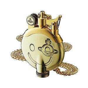 ヴィヴィアンウエストウッド スマイルオーブ柄タンク型チェーン付オイルライター ゴールド
