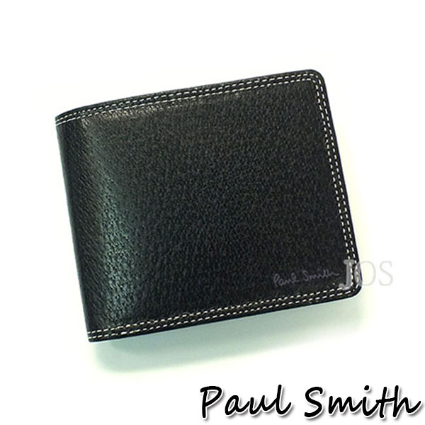 ポールスミス 財布 メンズ Paul Smith ポールスミス ピッグスキン レザーウォレット 2つ折財布 ブラック