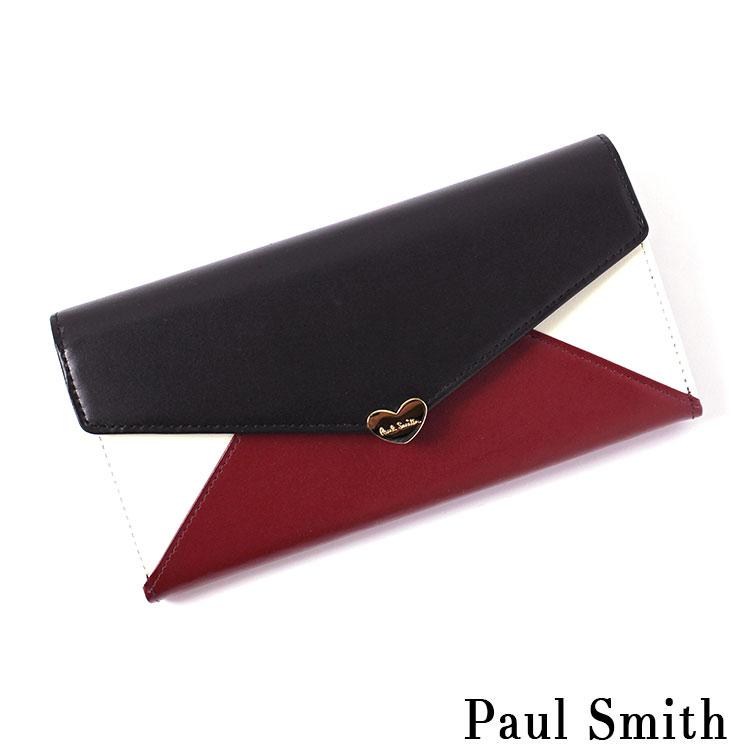 ポールスミス ポールスミス Paul Smith バイカラーラブレター かぶせ長財布 PWD283 ワイン