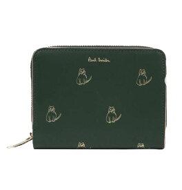 ポールスミス Paul Smith 財布 レディース財布 キャットドゥードゥル ラウンドジップ 2つ折り財布 グリーン