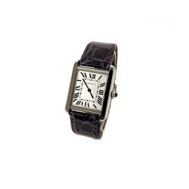 訳あり カルティエ CARTIER 時計 タンクソロ アリゲーターストラップ 腕時計 シルバー/パープル 限定カラー