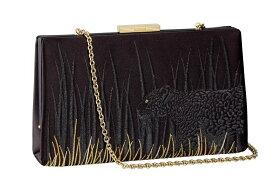 カルティエ Cartier バッグ パンテール ドゥ カルティエ クラッチバッグ ブラックサテン パンテールの刺繍