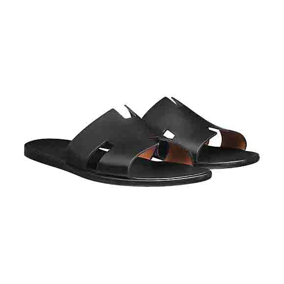 Hermes エルメス Izmir sandal レザー メンズ サンダル Noir 並行輸入