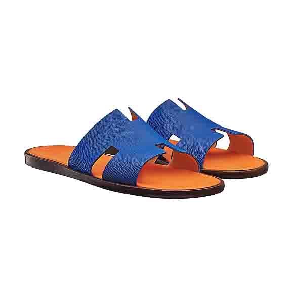 Hermes エルメス Izmir sandal レザー メンズ サンダル Bleu Royal 並行輸入